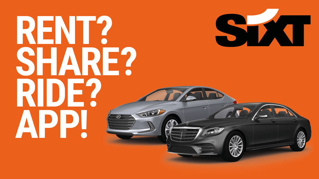 Two rental Cars and the headline: RENT?SHARE?RIDE?APP!