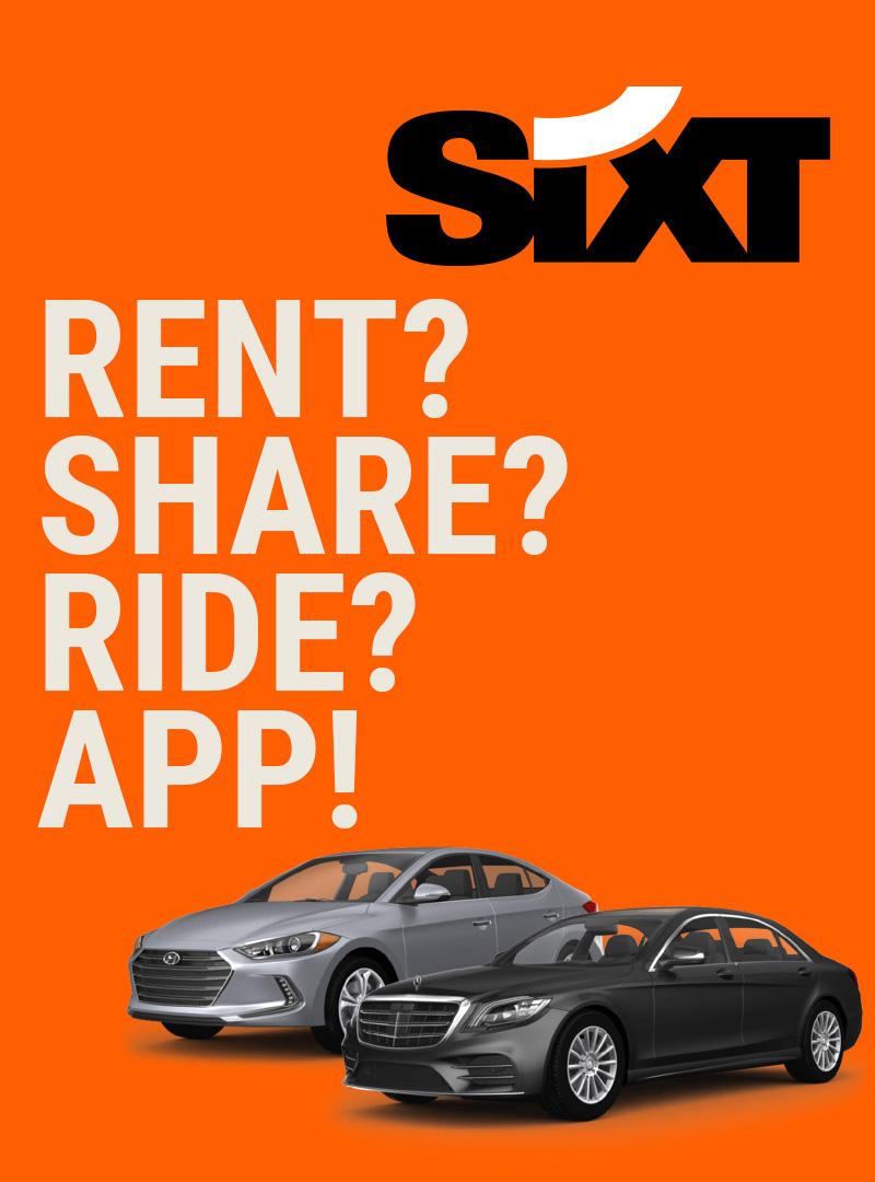 Zwei SIXT Mietwagen auf orangenem Hintergrund, Sixt Logo, Text: RENT?SHARE?RIDE?APP!